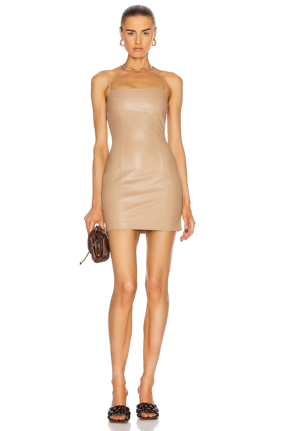 Image 1 of Zeynep Arcay Mini Spaghetti Leather Dress in Beige