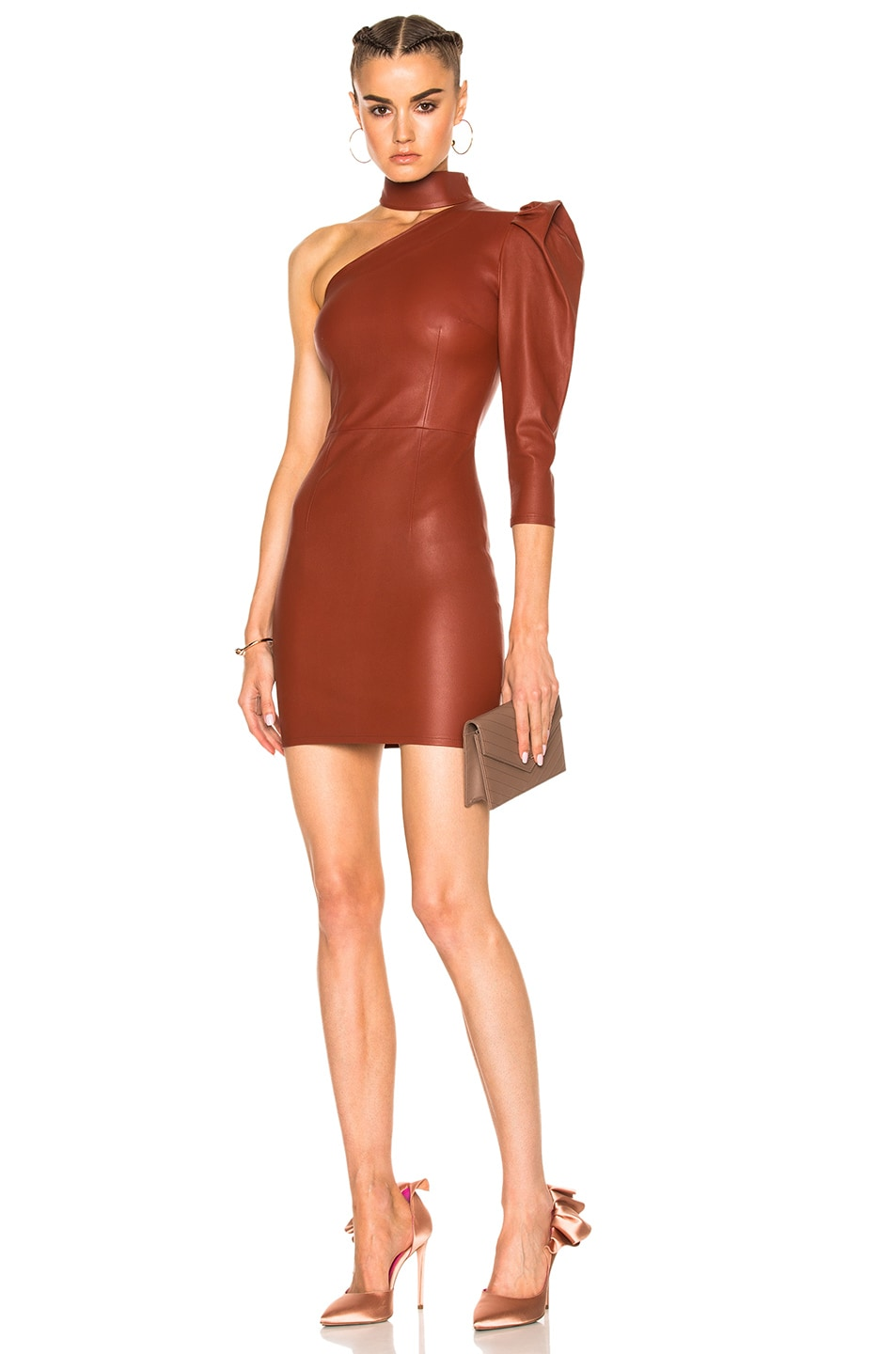 dc872b284d Image 1 of Zeynep Arcay One Shoulder Stretch Leather Dress in Brick