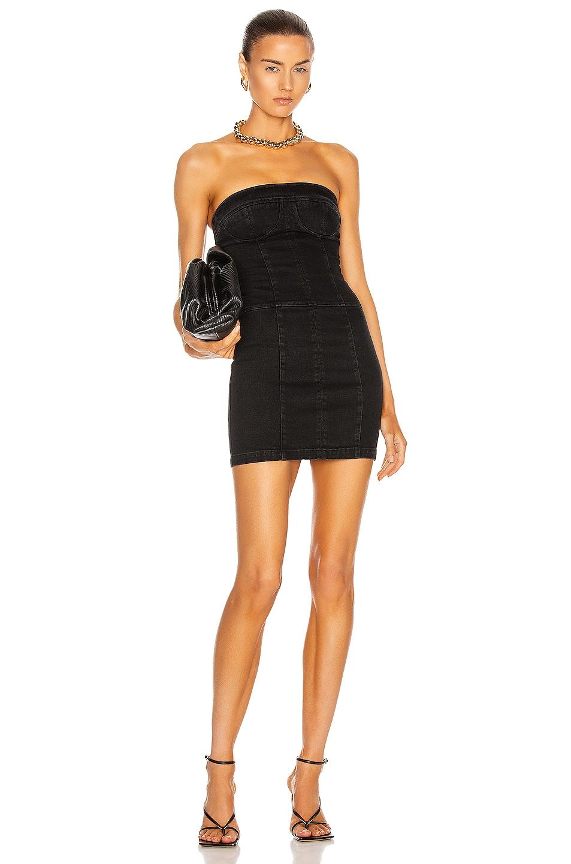 Image 1 of Zeynep Arcay Strapless Mini Denim Dress in Black