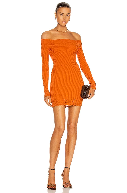 Image 1 of Zeynep Arcay Ajour Mini Knit Dress in Orange