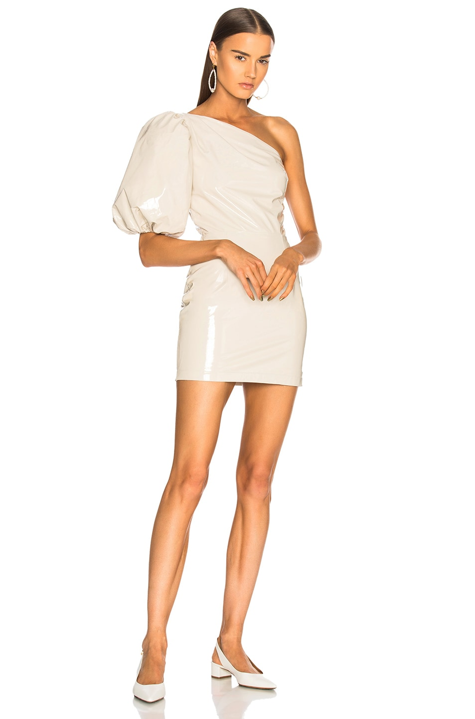 Image 1 of Zeynep Arcay One Shoulder Patent Leather Dress in Off White