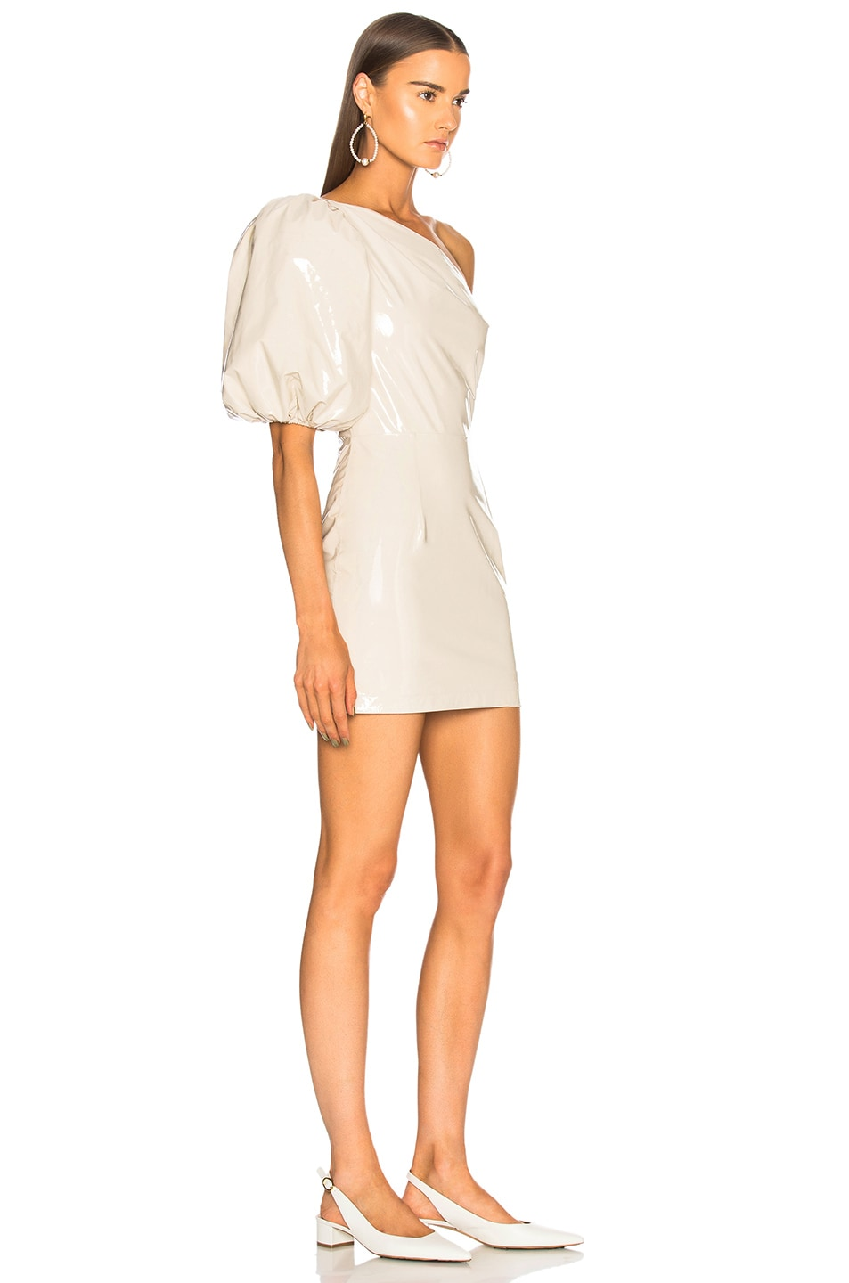Image 2 of Zeynep Arcay One Shoulder Patent Leather Dress in Off White