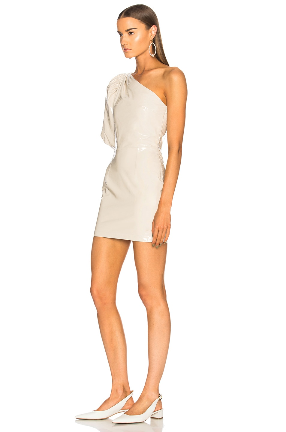 Image 3 of Zeynep Arcay One Shoulder Patent Leather Dress in Off White