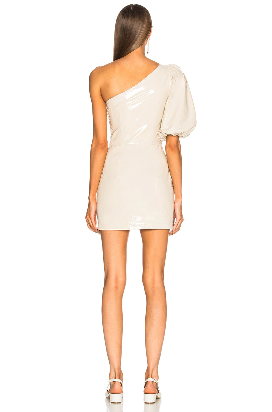 Image 4 of Zeynep Arcay One Shoulder Patent Leather Dress in Off White