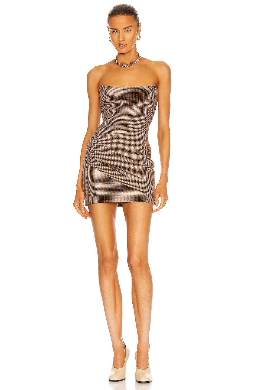 Image 1 of Zeynep Arcay Strapless Mini Wool Dress in Light Brown