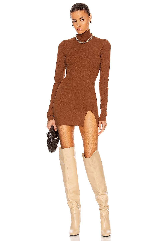 Image 1 of Zeynep Arcay Mini Slit Knit Dress in Brown
