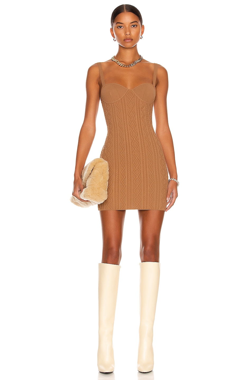 Image 1 of Zeynep Arcay Mini Knit Dress in Light Brown