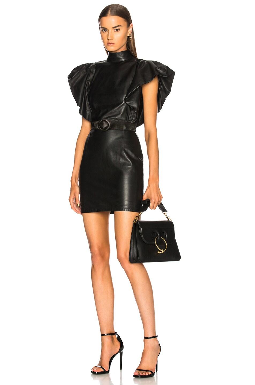 ZEYNEP ARCAY Zeynep Arcay Bold Shoulder Belted Leather Dress In Black