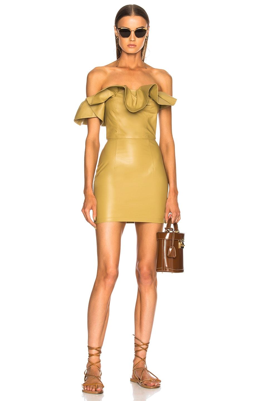 Zeynep Arcay Ruffle Leather Mini Dress In Yellow