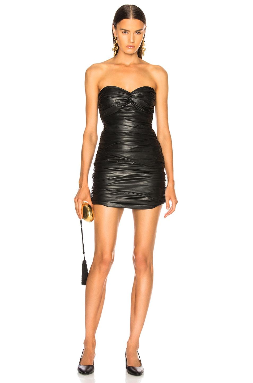 Image 1 of Zeynep Arcay Strapless Draped Leather Dress in Black