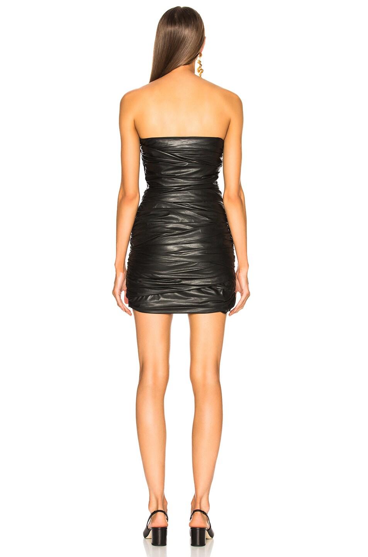 Image 3 of Zeynep Arcay Strapless Draped Leather Dress in Black