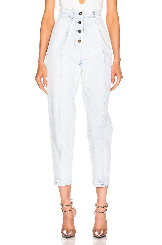 Image 1 of Zeynep Arcay Pleated Jean Pants in Light Blue