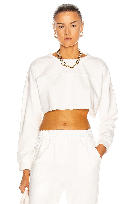 Image 1 of Zeynep Arcay Oversized Crop Sweatshirt in White