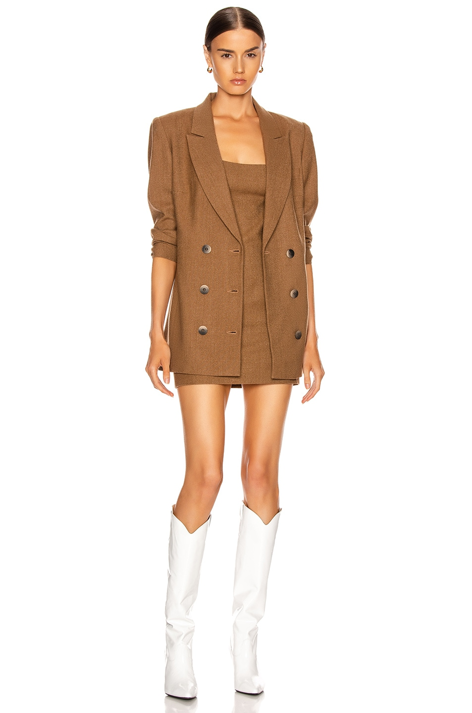 Image 1 of Zeynep Arcay Wool Wrap Blazer in Taba