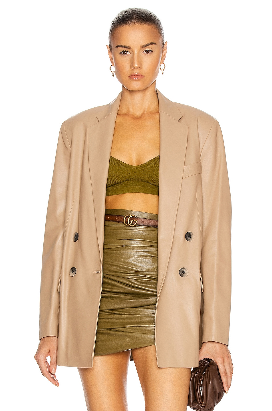 Image 1 of Zeynep Arcay Gem Leather Jacket in Beige