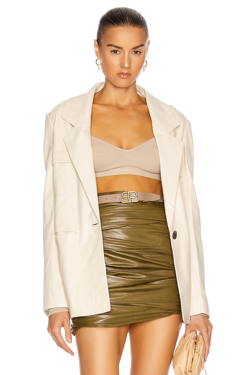 Image 1 of Zeynep Arcay Leather Suit Jacket in Off White