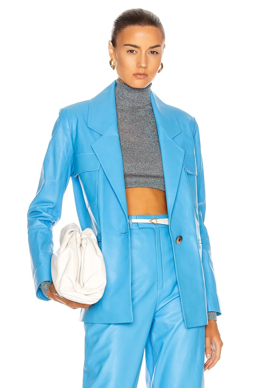Image 1 of Zeynep Arcay Leather Suit Jacket in Blue
