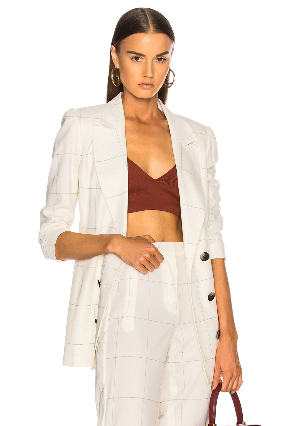 ZEYNEP ARCAY PLAID DOUBLE BREASTED BLAZER IN WHITE,CHECKERED & PLAID