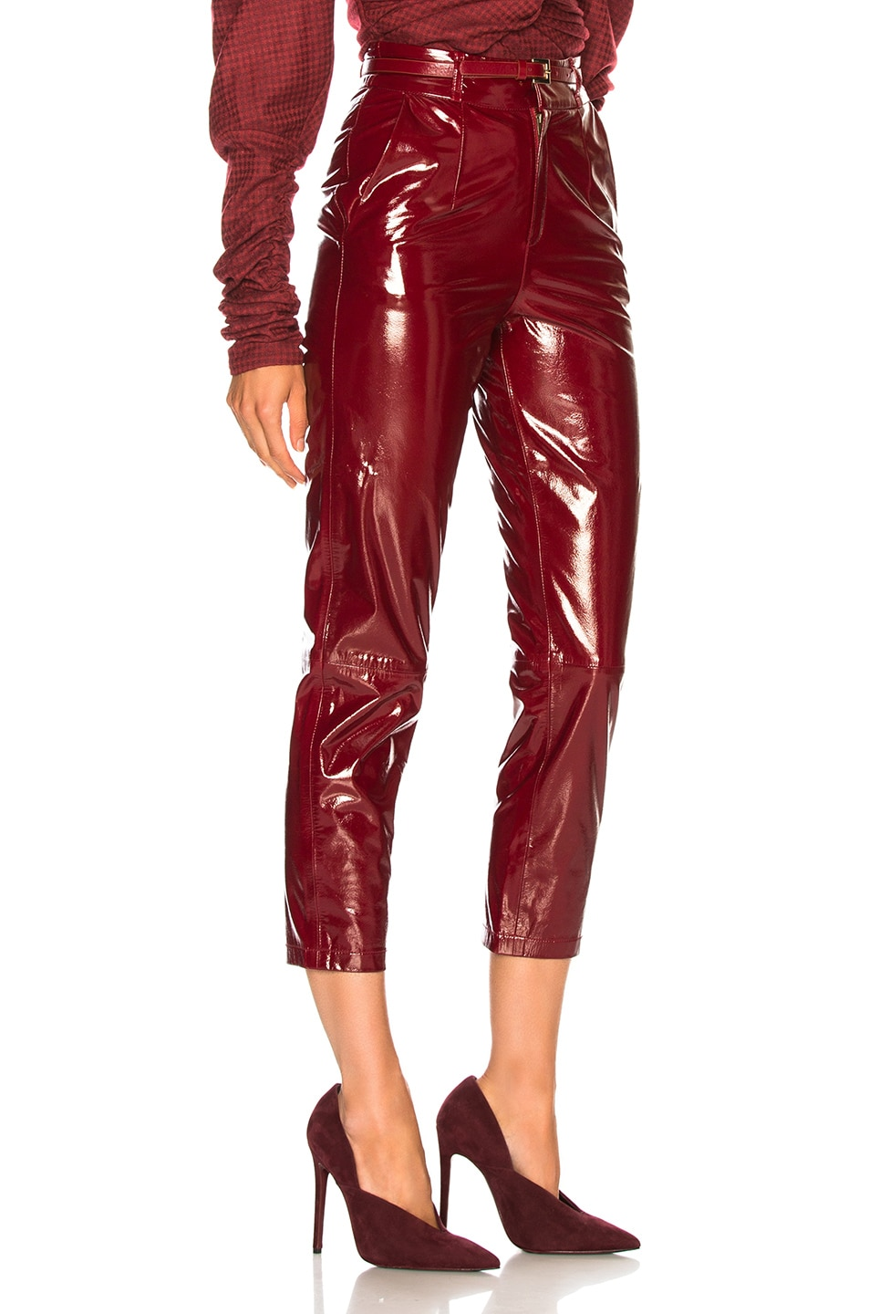 Image 2 of Zeynep Arcay Patent Leather Mom Pants in Red