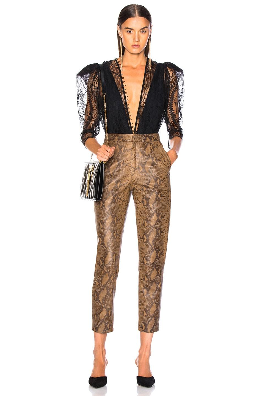 Image 4 of Zeynep Arcay for FWRD High Waist Skin Print Leather Pants in Creamy Coffee & Dark Chocolate
