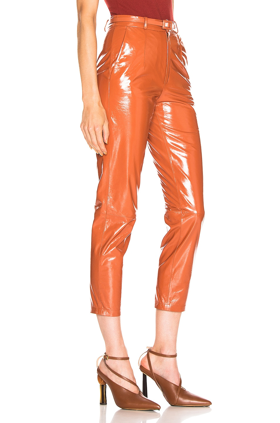 Image 2 of Zeynep Arcay Mom Patent Leather Pants in Brick