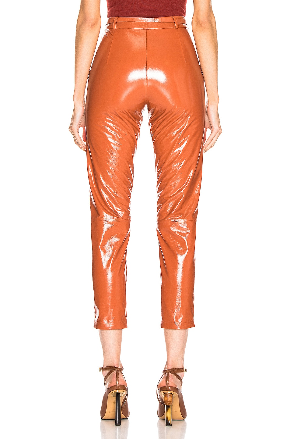 Image 3 of Zeynep Arcay Mom Patent Leather Pants in Brick