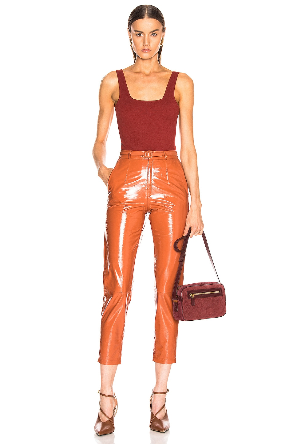 Image 4 of Zeynep Arcay Mom Patent Leather Pants in Brick