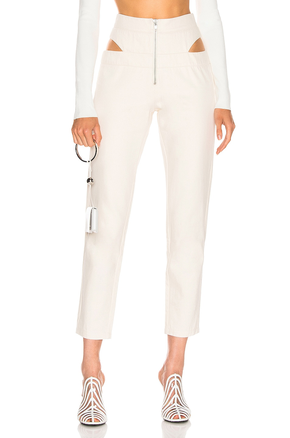 Image 1 of Zeynep Arcay Cutout Denim Pant in Off White