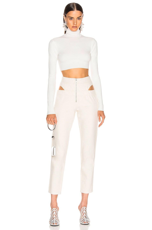 Image 4 of Zeynep Arcay Cutout Denim Pant in Off White