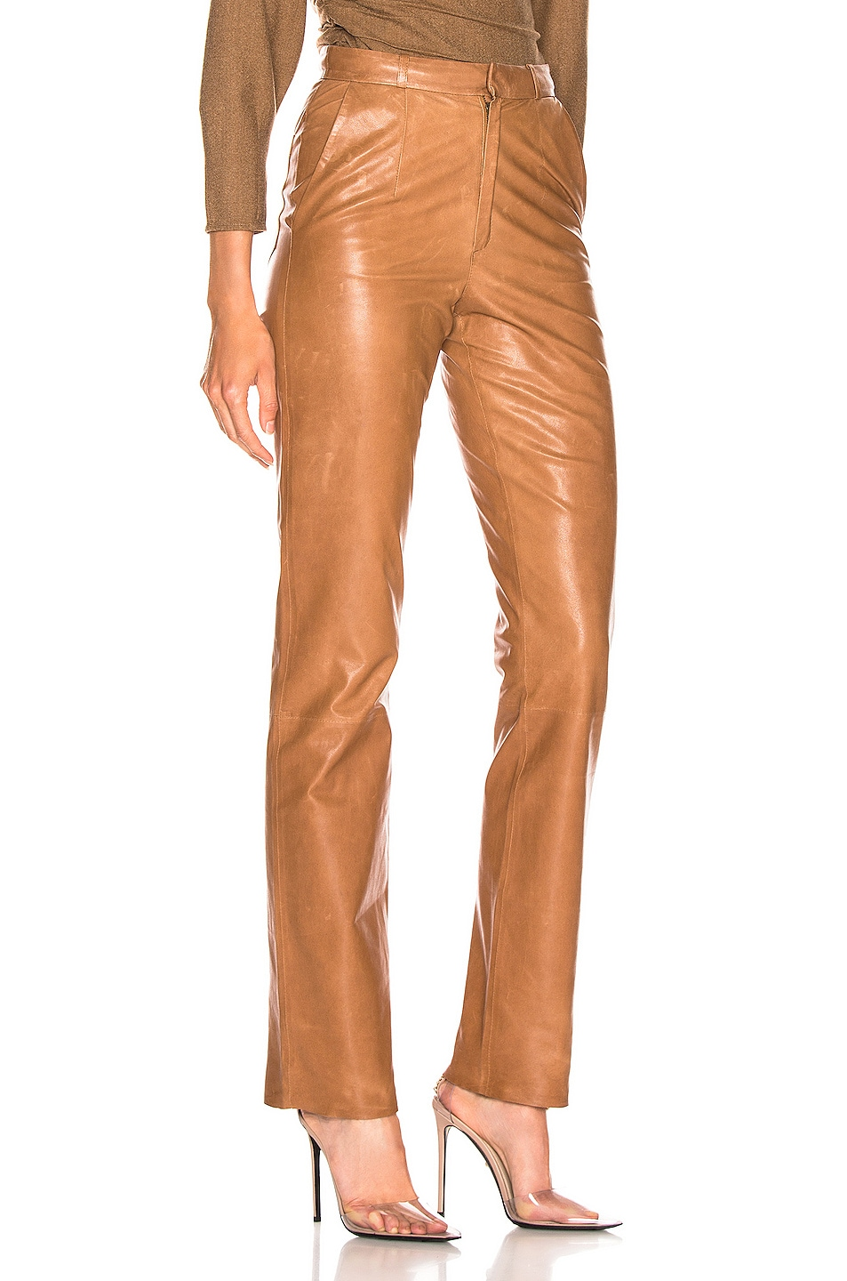 Image 2 of Zeynep Arcay High Waisted Cigarette Leather Pant in Light Taba