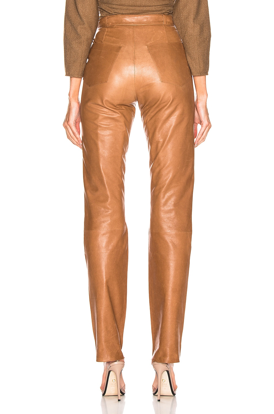 Image 3 of Zeynep Arcay High Waisted Cigarette Leather Pant in Light Taba