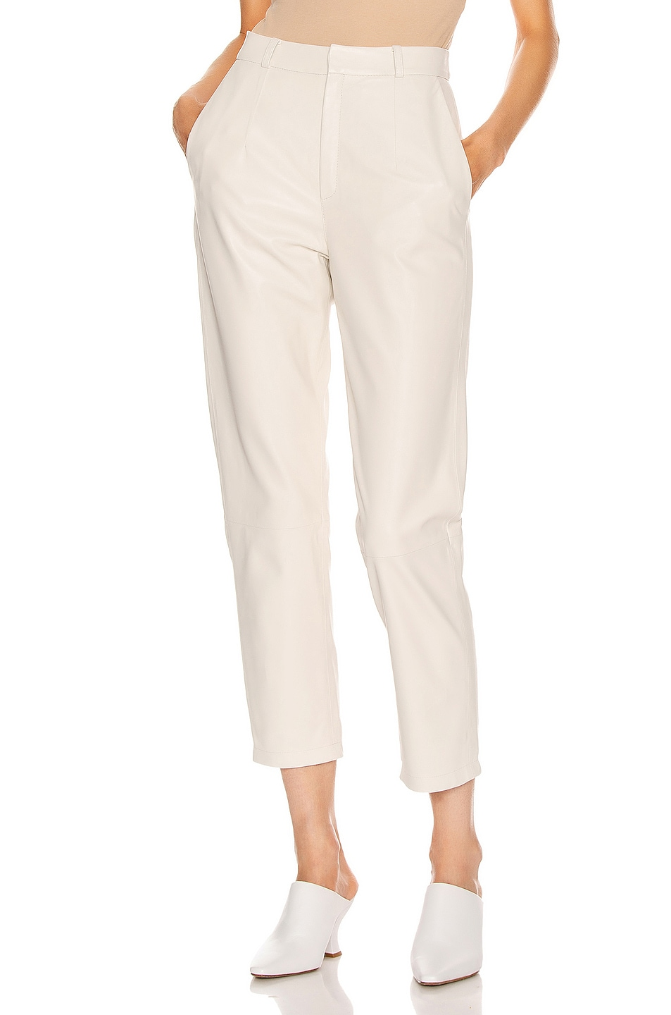 Image 1 of Zeynep Arcay Mom Leather Pant in White