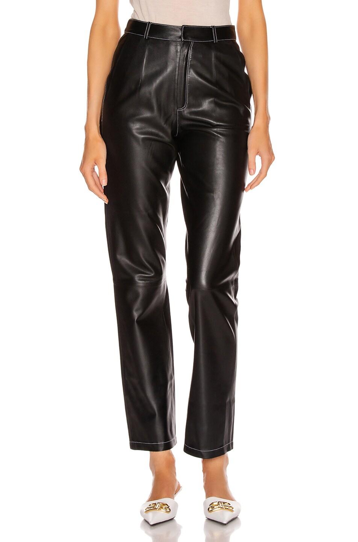 Image 1 of Zeynep Arcay Leather Cigarette Pant in Black
