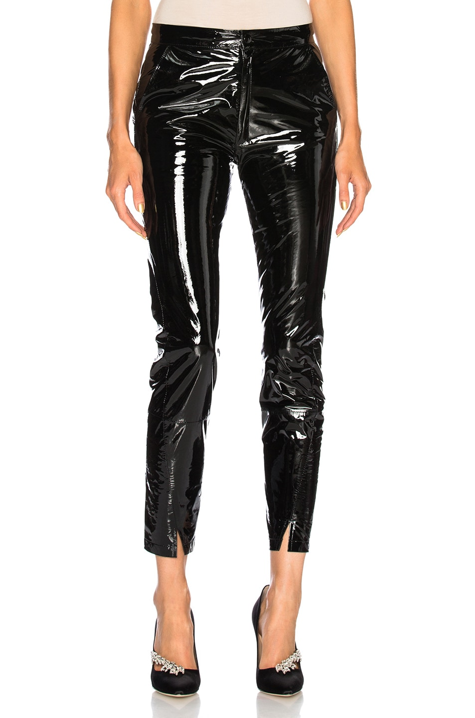 Image 1 of Zeynep Arcay Patent Leather Pants with Ankle Slits in Black