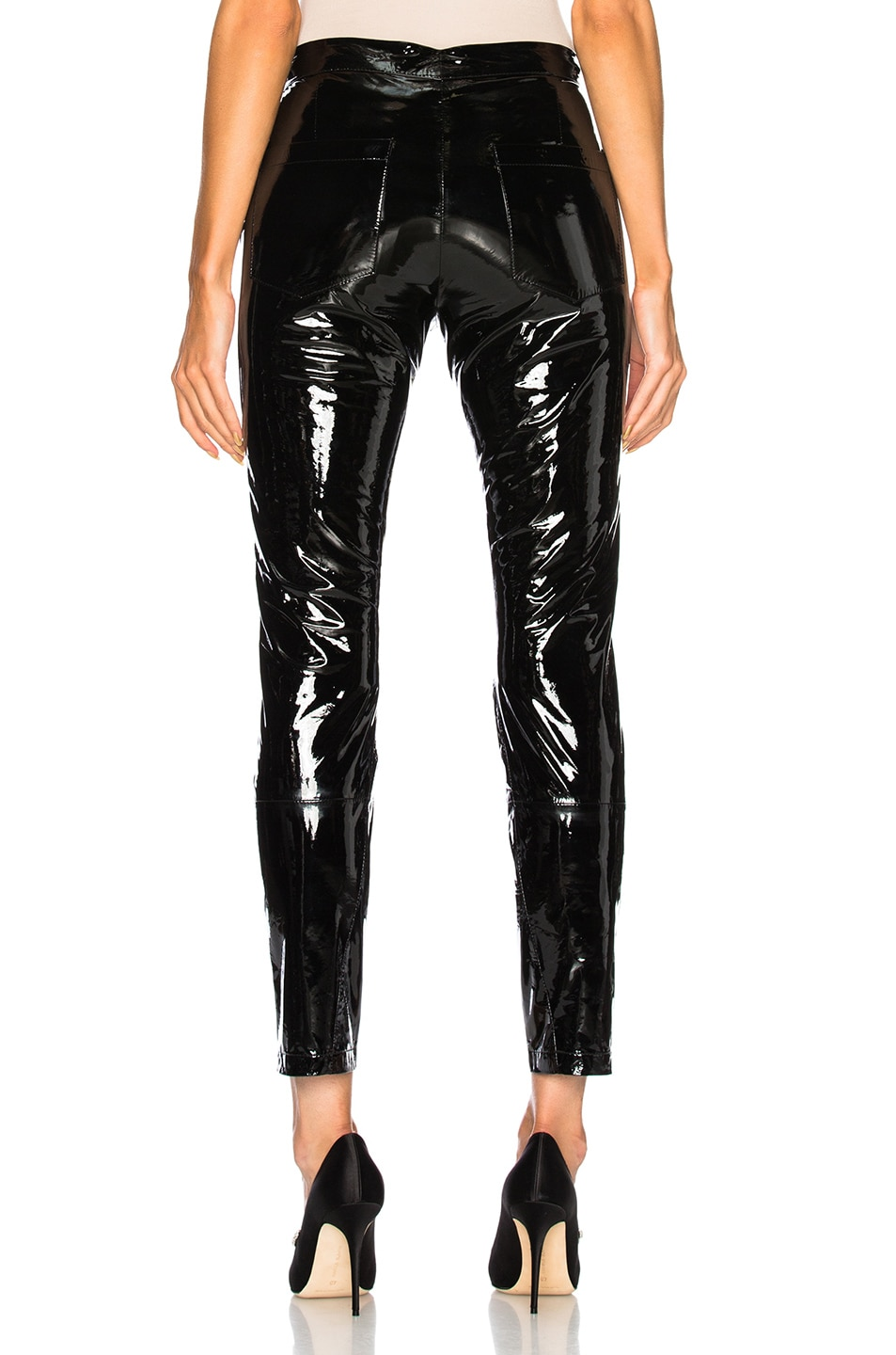 Image 3 of Zeynep Arcay Patent Leather Pants with Ankle Slits in Black