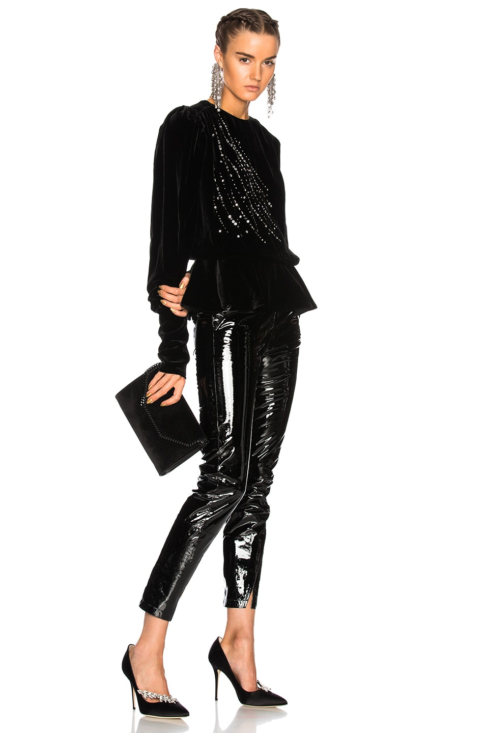 Image 4 of Zeynep Arcay Patent Leather Pants with Ankle Slits in Black