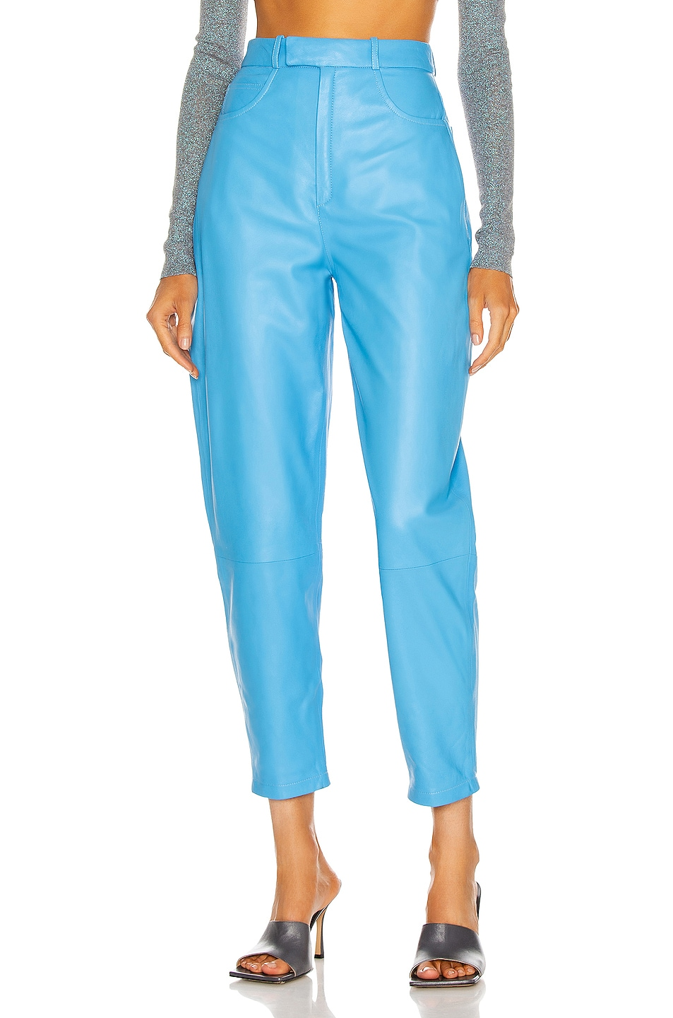 Image 1 of Zeynep Arcay Balloon Leather Pant in Blue