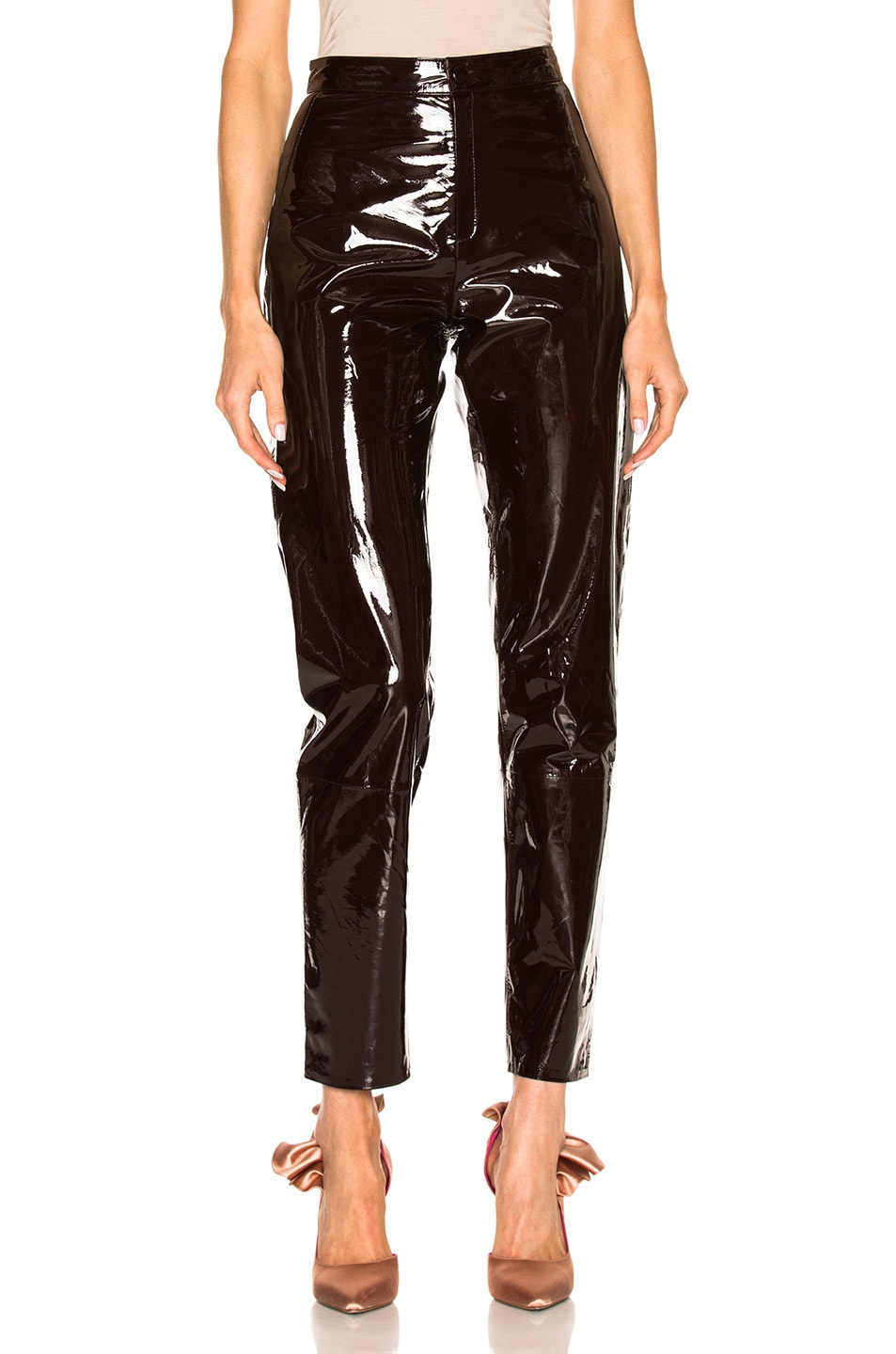 58c51e8f05f3 Image 1 of Zeynep Arcay High Waisted Patent Leather Pants in Dark Plum