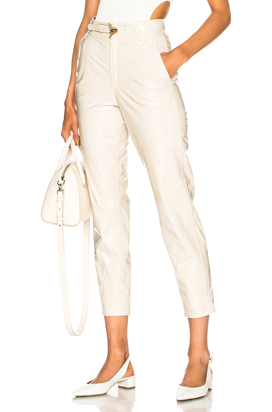 ZEYNEP ARCAY BELTED PATENT LEATHER PANTS IN WHITE