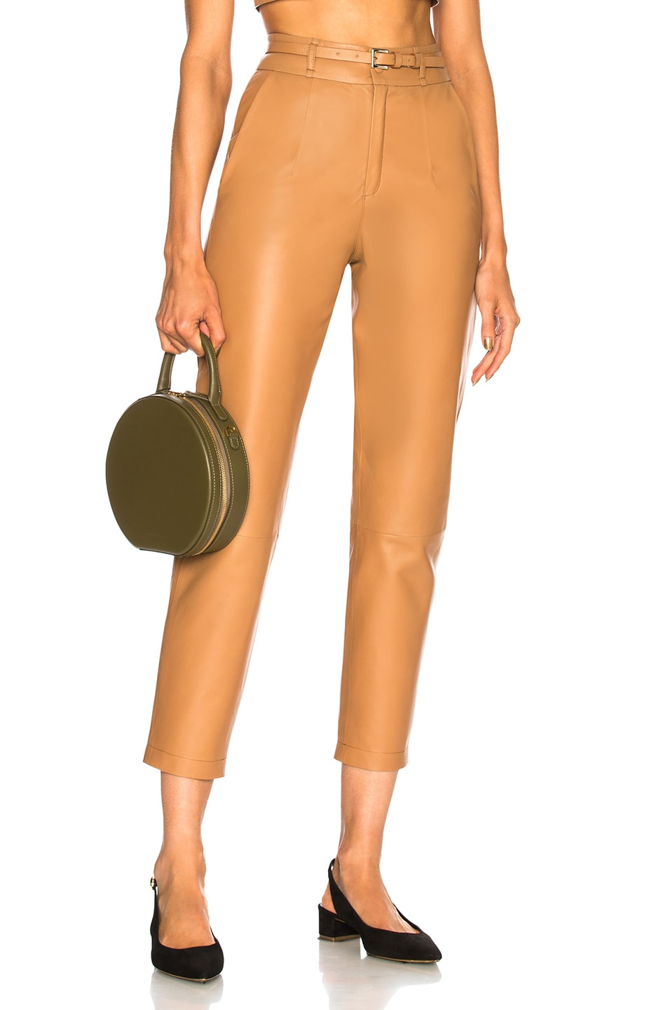 Image 1 of Zeynep Arcay Belted Leather Pants in Camel