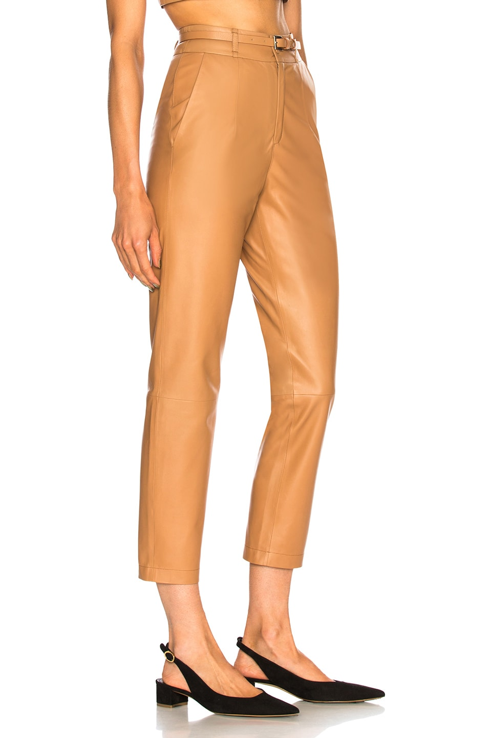 Image 2 of Zeynep Arcay Belted Leather Pants in Camel
