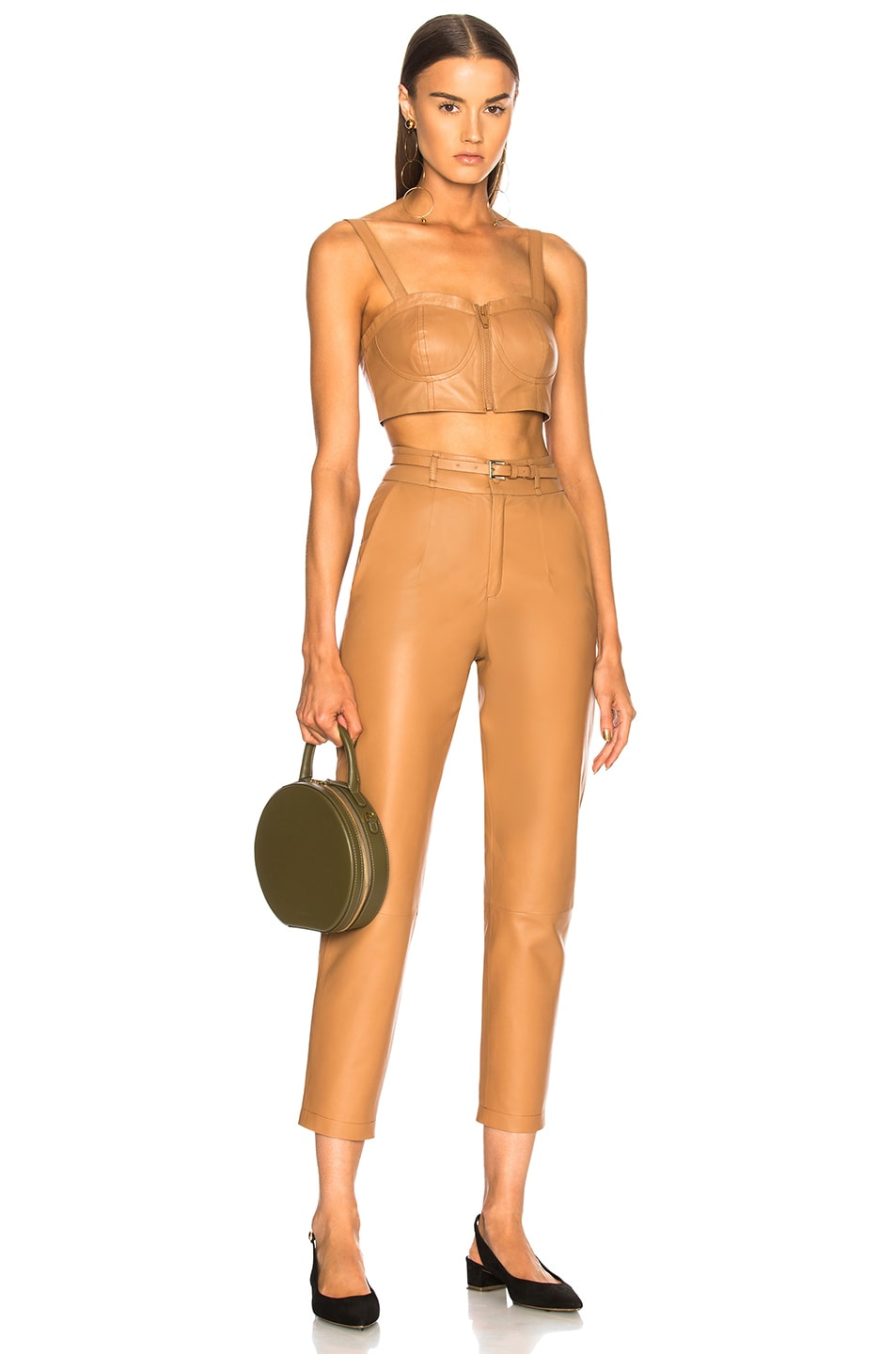 Image 4 of Zeynep Arcay Belted Leather Pants in Camel