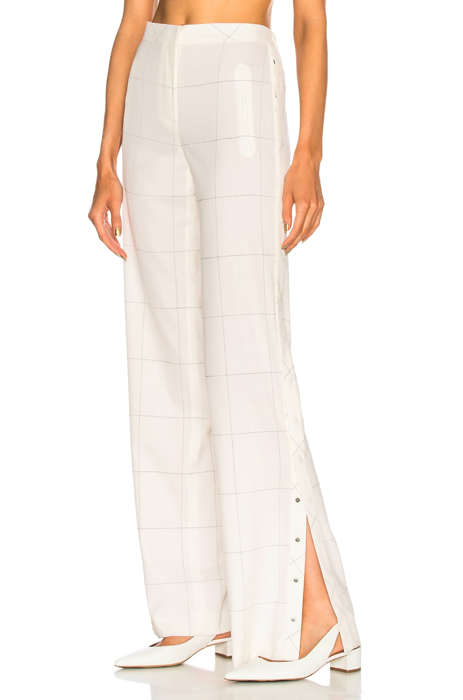ZEYNEP ARCAY PLAID SIDE SNAP PANTS IN WHITE,CHECKERED & PLAID