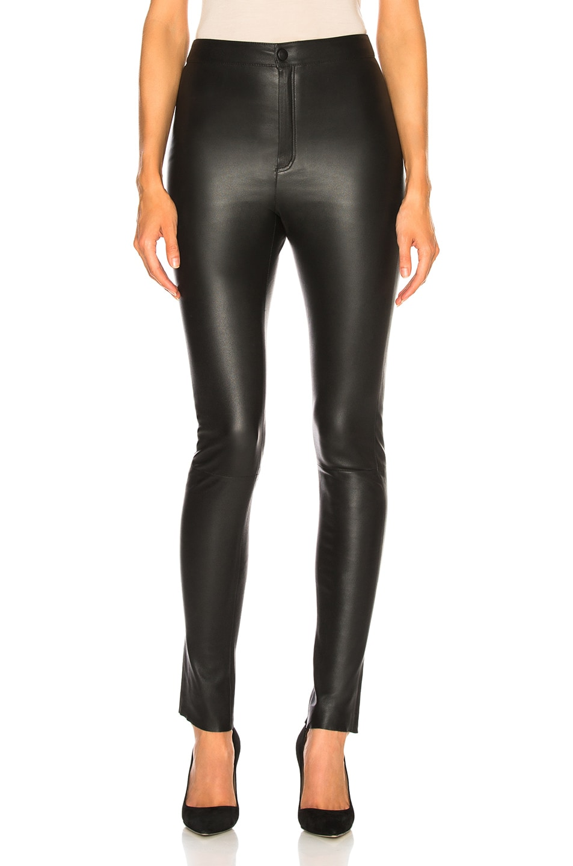 Image 1 of Zeynep Arcay High Waisted Skinny Leather Pants in Black