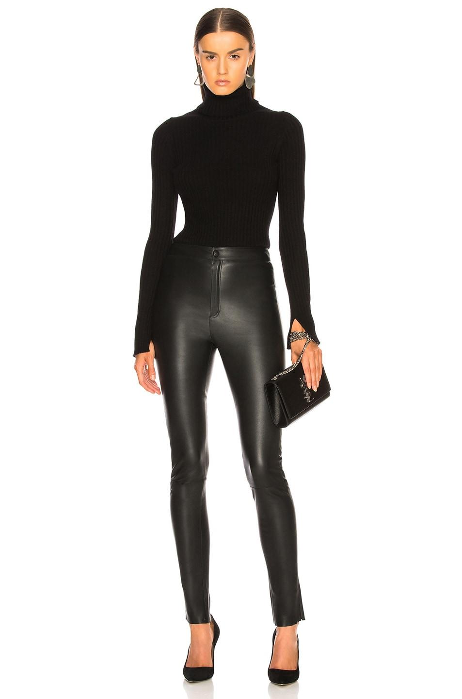 Image 4 of Zeynep Arcay High Waisted Skinny Leather Pants in Black