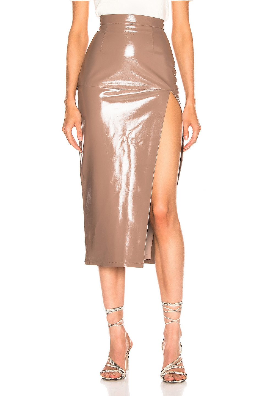 Image 1 of Zeynep Arcay Midi Leather Pencil Slit Skirt in Pink Ash