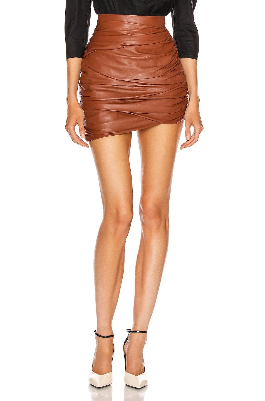 Image 1 of Zeynep Arcay Asymmetric Mini Draped Leather Skirt in Whiskey
