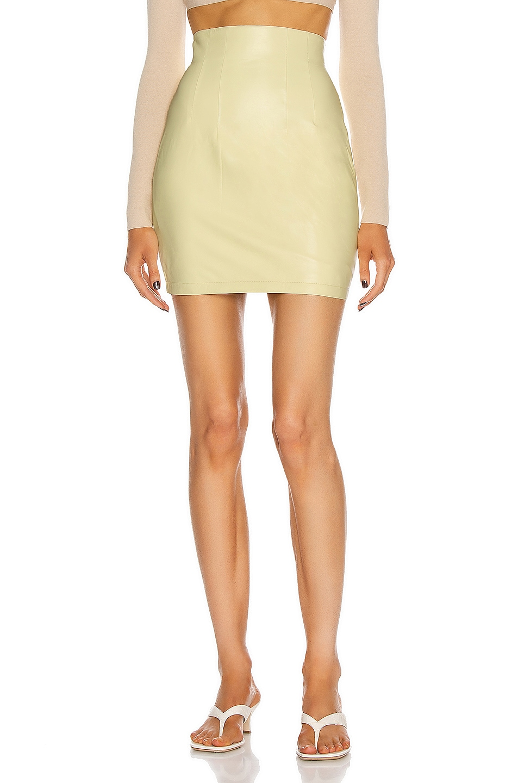 Image 1 of Zeynep Arcay High Waisted Mini Leather Skirt in Lemon