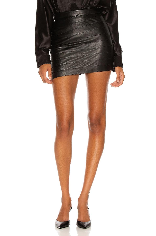 Image 1 of Zeynep Arcay Layered Mini Leather Skirt in Black