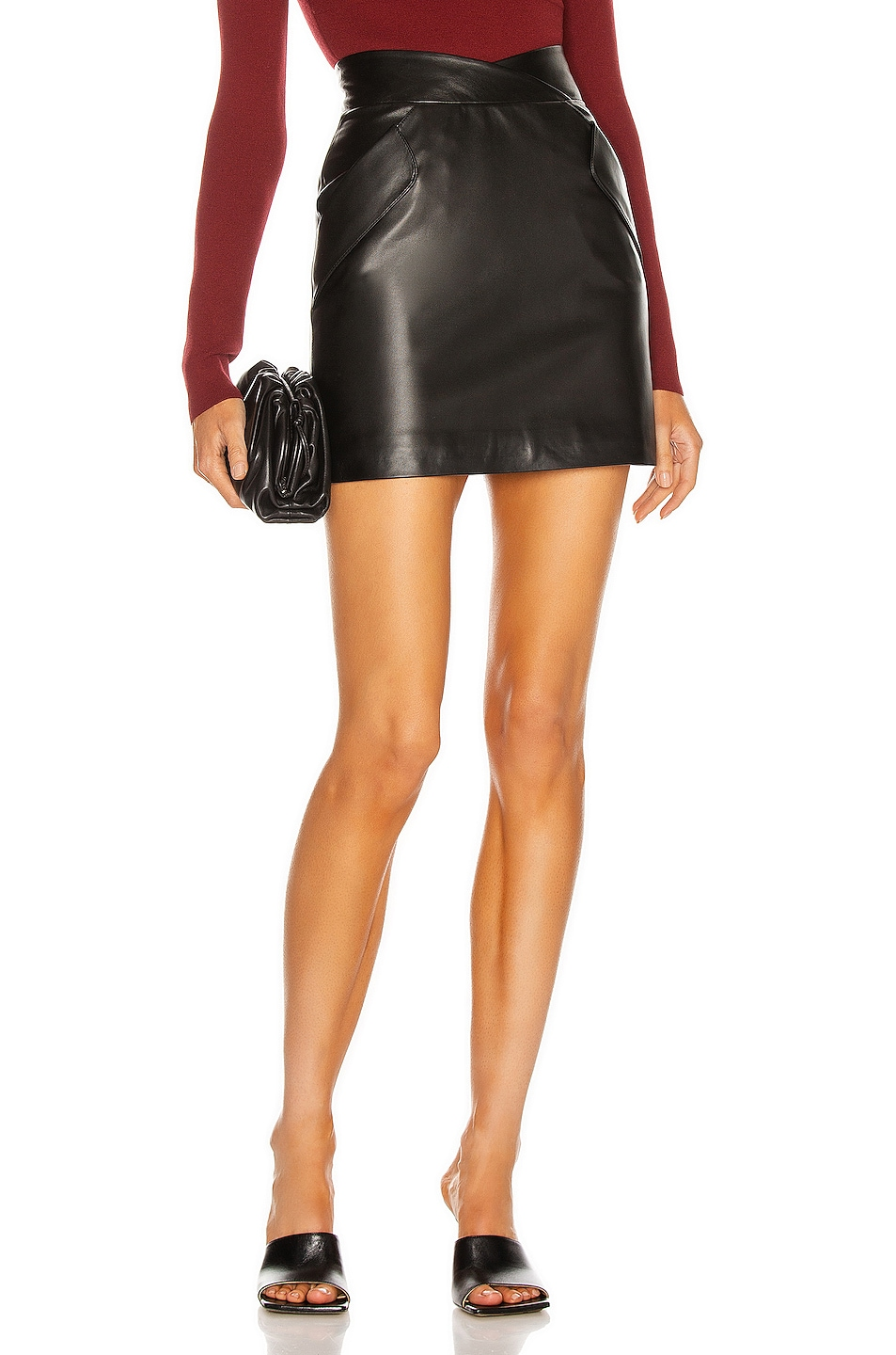 Image 1 of Zeynep Arcay Two Pocket Mini Leather Skirt in Black